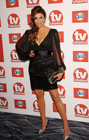 Shiny silver pumps provided a contemporary finish to Shobna's evening look.