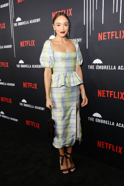 Ashley Madekwe looked demure and pretty in a puff-sleeved peplum top by Markarian at the premiere of 'The Umbrella Academy.'