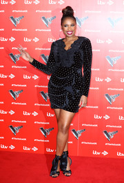 Jennifer Hudson complemented her LBD with a pair of ankle-tie satin sandals.