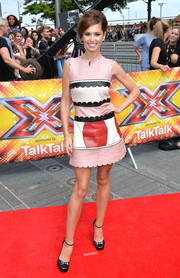 Cheryl Fernandez-Versini looked super cute in a scalloped, color-block leather mini by REDValentino during the 'X Factor' London auditions.