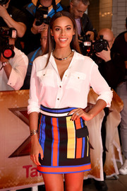 Rochelle Humes was casual yet stylish in a white Michael Kors button-down during the 'X Factor' press launch.