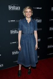 Greta Gerwig was casual and youthful in a belted denim dress at TheWrap's 2018 Women, Whiskey and Wisdom Celebrating Oscar Nominees.