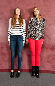 Judy Greer was right on trend in a playful leopard blouse and bright red jeans.