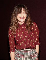 Kathryn Hahn went playful with this bird-print button-down and plaid pants combo at a screening of 'I Love Dick.'