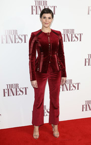 Gemma Arterton opted for a crimson velvet pantsuit by Altuzarra when she attended the special screening of 'Their Finest.'