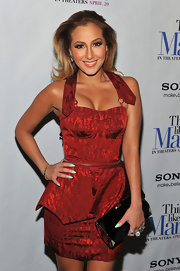 Adrienne Bailon donned this iridescent crimson cocktail dress for the 'Think Like a Man' premiere.