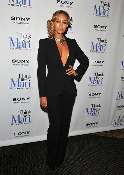 Keri Hilson attended a screening of 'Think Like a Man' wearing a cool two-tone manicure featuring shiny metallic and neon polishes.