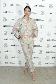 Neelam Gill was edgy-chic in a printed pantsuit at the Central Saint Martins show.