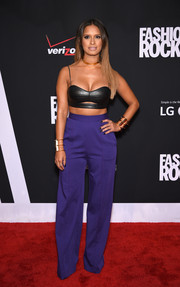 Rocsi Diaz went for a bondage feel with this black leather bra top during Fashion Rocks 2014.