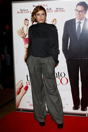 Sarah Felberbaum sported a pair of stylish menswear-inspired wide leg pants to the premiere of 'Ti Presento Un Amico' in Milan.