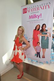 Lesley Murphy chose a bold printed dress for her look at the launch of Milky!