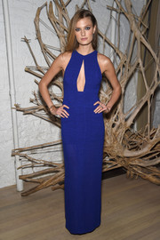 Constance Jablonski flashed some cleavage in a royal-blue keyhole-neckline gown at the Tiffany & Co. 2015 Blue Book celebration.