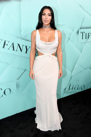 Kim Kardashian ravished in a plunging white cutout gown by Rick Owens at the 2018 Tiffany Blue Book Collection celebration.