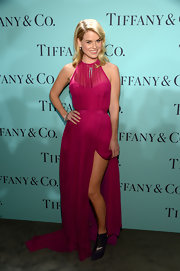 Alice Eve showed off some leg with this fuchsia halter gown.