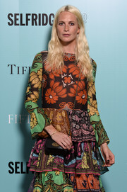 Poppy Delevingne paired a black Mulberry chain-strap bag with a boho print dress for the Tiffany & Co. 'Fifth and 57th' exhibition opening.