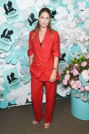Doutzen Kroes chose a stylish red pantsuit for the Tiffany & Co. Paper Flowers event.