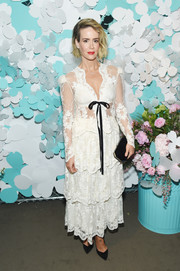 Sarah Paulson's white Brock Collection frock at the Tiffany & Co. Paper Flowers event was equal parts sweet and sexy with its lace fabric, tiered skirt, and sheer bodice.