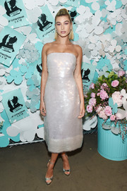 Hailey Baldwin looked radiant in a strapless paillette dress by Ellery at the Tiffany & Co. Paper Flowers event.