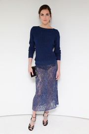 Hilary Rhoda styled her sweater with a bedazzled, sheer blue pencil skirt, also by Jason Wu.