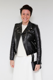 Garance Dore went for a rocker vibe in a black leather moto jacket during the Tiffany Blue Book debut.