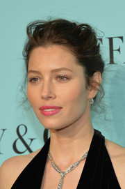 Jessica Biel attended the Tiffany Blue Book debut wearing her hair in a messy-elegant updo.