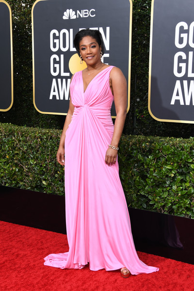 Tiffany Haddish Evening Dress [dress,red carpet,clothing,shoulder,carpet,gown,pink,premiere,fashion,a-line,arrivals,tiffany haddish,the beverly hilton hotel,beverly hills,california,golden globe awards,tiffany haddish,golden globe awards,red carpet,celebrity,hollywood,actor,golden globe award for best actress \u2013 motion picture \u2013 musical or comedy,beyonc\u00e9,meryl streep,jennifer lopez]