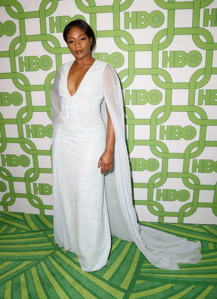 Tiffany Haddish Sequin Dress [dress,clothing,white,gown,green,shoulder,fashion,bridal party dress,fashion design,wedding dress,tiffany haddish,official golden globe awards,california,los angeles,circa 55 restaurant,hbo,arrivals]
