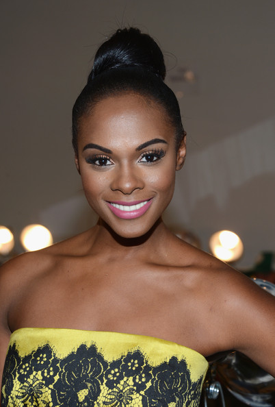 Tika Sumpter Hair Knot [hair,hairstyle,beauty,eyebrow,lip,fashion,shoulder,black hair,bun,smile,mercedes-benz fashion week,fashion show,milly by michelle smith - backstage,the stage lincoln center,new york city,tika sumpter,michelle smith,milly by]