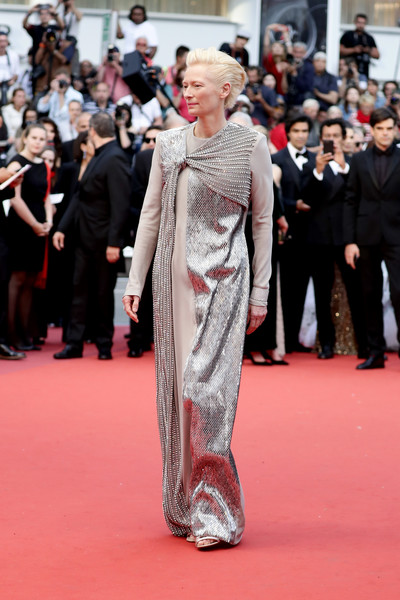 Tilda Swinton Beaded Dress [the dead dont die opening ceremony red carpet,the dead dont die,film,red carpet,carpet,fashion,flooring,clothing,premiere,dress,suit,fashion model,event,tilda swintonattends,screening,red carpet,celebrity,cannes,the 72nd annual cannes film festival,ceremony,tilda swinton,2019 cannes film festival,the dead dont die,jim jarmusch,cannes,honor swinton byrne,chlo\u00eb sevigny,film,independent spirit awards,celebrity]