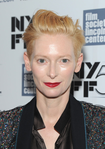 Tilda Swinton Fauxhawk [only lovers left alive,red carpet,hair,face,hairstyle,blond,lip,eyebrow,chin,forehead,quiff,pixie cut,tilda swinton,dazed and confused,lincoln center,new york city,alice tully hall,new york film festival,20th anniversary screening]