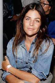 Julia Restoin-Roitfeld went the rugged route in a Current/Elliott denim shirt when she attended the Tim Coppens fashion show.