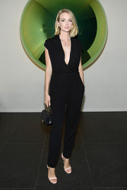 Lindsay Ellingson opted for a simple black jumpsuit when she attended the Times Square Edition premiere.