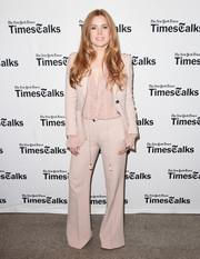 Amy Adams went the '70s-chic route in a nude bell-bottom pantsuit by Roberto Cavalli when she attended TimesTalks.