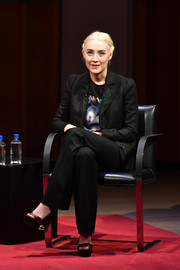 Saoirse Ronan showed off a pair of bejeweled gold platforms by Casadei while attending TimesTalks.