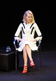 Naomi Watts joined TimesTalks wearing a long-sleeve monochrome midi dress by Zac Posen.