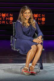 Mindy Kaling was business-chic in a blue shirtdress with an embellished yoke during day 1 of the Women in the World Summit.