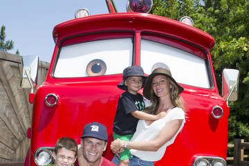 Tom Brady Benjamin Brady Gisele Bundchen Takes Her Family to Disney's Cars Land