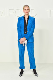Chiara Ferragni looked cool in an electric-blue suede pantsuit at the Tom Ford Fall 2020 show.