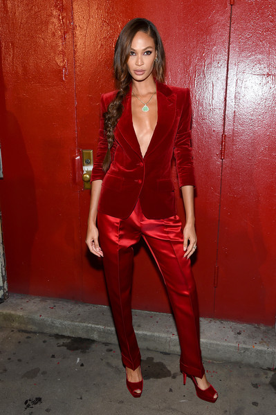 More Pics of Joan Smalls Pantsuit (2 of 5) - Suits Lookbook - StyleBistro [red,clothing,leg,fashion,photo shoot,outerwear,pantsuit,suit,thigh,photography,arrivals,tom ford - arrivals,tom ford,joan smalls,new york city,new york fashion week]