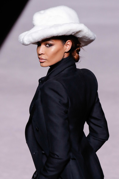 More Pics of Joan Smalls Peep Toe Pumps (1 of 4) - Heels Lookbook - StyleBistro [shows,clothing,hat,fashion model,fashion,suit,formal wear,fedora,headgear,human,model,winter 2019 collection,tom ford,joan smalls,runway,new york city,tom ford autumn,new york fashion week]