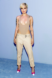 Halsey turned heads in a high-cut nude bodysuit by Tom Ford during the brand's Fall 2018 Men's runway show.