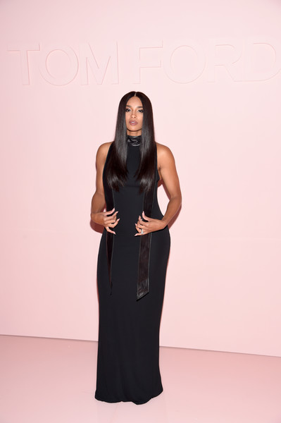 More Pics of Ciara Form-Fitting Dress (2 of 2) - Ciara Lookbook - StyleBistro [dress,fashion model,fashion,little black dress,shoulder,neck,long hair,girl,formal wear,flooring,arrivals,ciara,new york city,park avenue armory,tom ford spring,summer 2018 runway show]