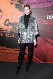 Helena Bordon glammed up a black turtleneck with a silver sequin jacket for the Tommy Hilfiger Drive Now show.
