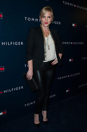 Jessica Capshaw's blazer had some extra pizazz with a gold trim around the front