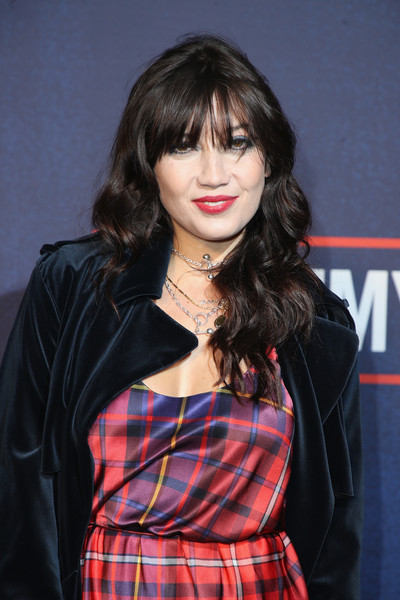 More Pics of Daisy Lowe Print Dress (1 of 5) - Daisy Lowe Lookbook - StyleBistro [tommy hilfiger tommynow fall 2017 show,hair,plaid,face,hairstyle,bangs,pattern,beauty,tartan,lip,layered hair,tommy hilfiger,daisy lowe,front row,atmosphere,london,england,roundhouse,tommynow,london fashion week]