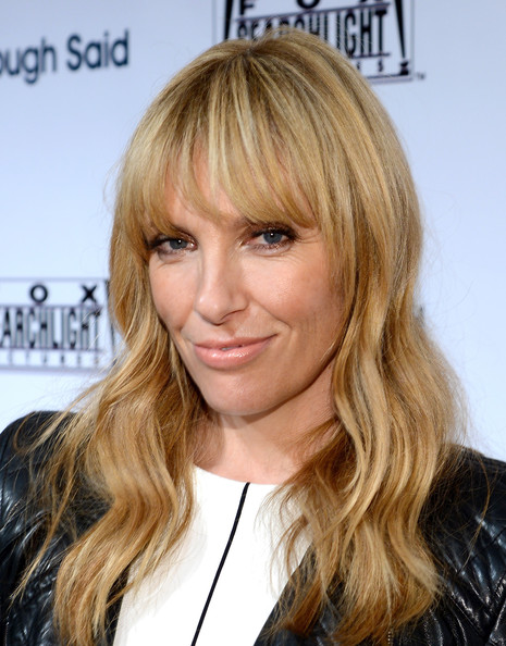 Toni Collette Long Wavy Cut with Bangs [hair,hairstyle,blond,face,hair coloring,layered hair,bangs,eyebrow,brown hair,long hair,toni collette,toronto,canada,spice route,red carpet,fox searchlight,fox searchlight tiff party,2013 toronto international film festival]
