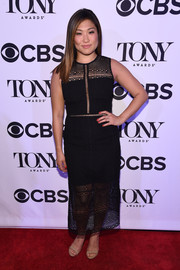 Jenna Ushkowitz looked effortlessly stylish in a black mesh-panel maxi dress during the Tony Honors cocktail party.