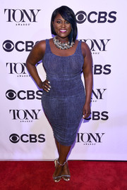 Silver ankle-strap sandals polished off Danielle Brooks' look.