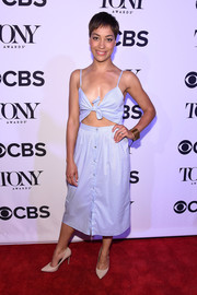 Cush Jumbo looked all set for summer in this pastel-blue knot-detail cutout dress at the Tony Honors cocktail party.