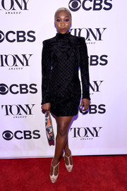 Cynthia Erivo chose this black velvet-burnout mini dress by Balmain x H&M for the Tony Honors cocktail party.
